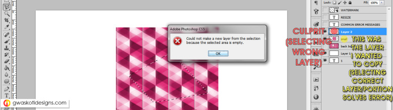 Error messages, mistakes & warnings in photoshop